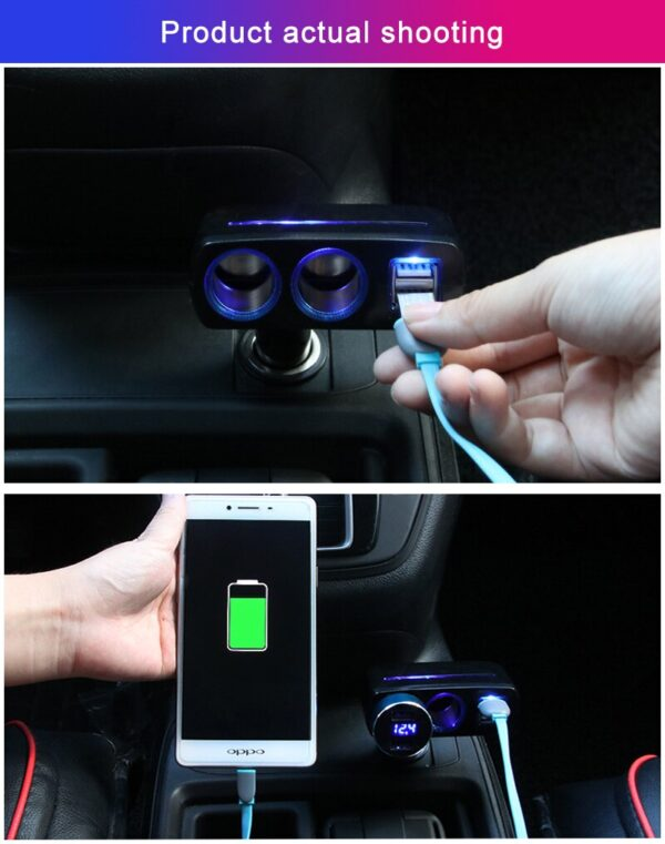 New Arrival 12-24V Universal Car Auto Cigarette Lighter Dual USB Charger socket power adapter 2.1A/1.0A 80W Splitter Charger Car accessories