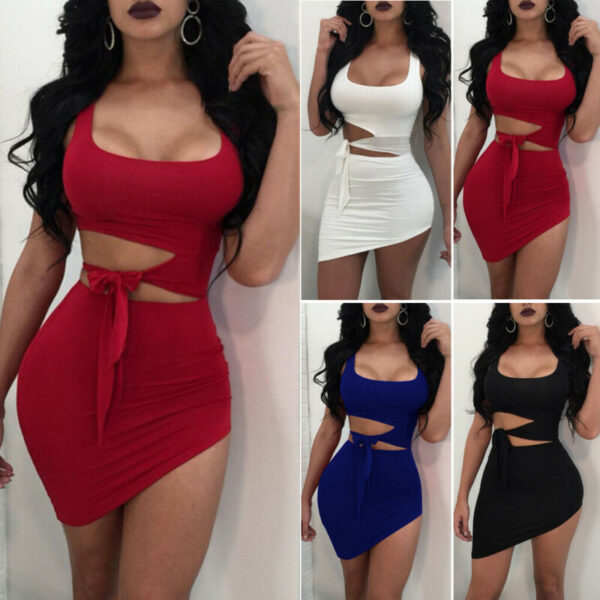 New Fashion Women Sexy Hypotenuse Dress Hollow Out High Waist Sexy Package Hip Dress Evening Party Dress Kitchen