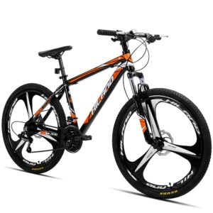 New US warehouse HILAND 26 inch 21 Speed Aluminum Alloy Suspension Bike Double Disc Brake Mountain Bike Bicycle with Service Bike Bicycle Shop Bike Bicycle