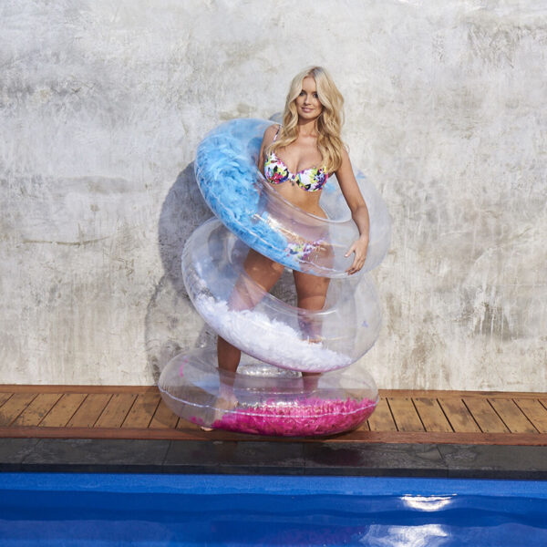 Newest Design Inflatable Feathers Swimming Ring Blue Pink Adult & Kid Swim Circle Tube Beach Summer Water Party Pool Toys Swimming