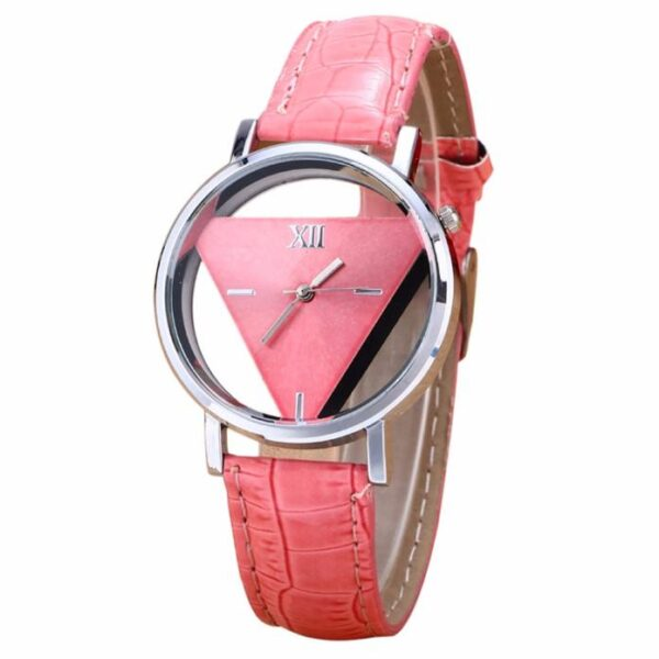Otoky Women's Watch Luxury Leather Mens Womens Unique Hollowed-out Triangular Dial Black Fashion Watch Elegant Fashion Vintage Fashion Life & Accessories Iwatch & Accessories