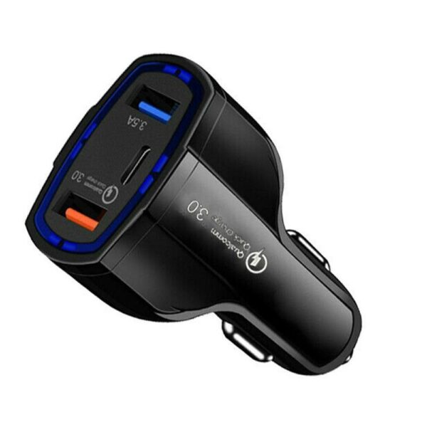 QC 3.0 USB C Car Charger 3-Ports Quick Charge 3.0 Fast Charger for Car Phone Charging Adapter for iPhone Xiaomi Mi 9 Car accessories
