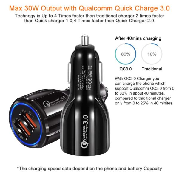 Quick Charge 3.0 Car Charger Dual USB Port Fast Car Charger Adapter Car Cigarette Lighter for Xiaomi iPhone Samsung Tablet Car accessories