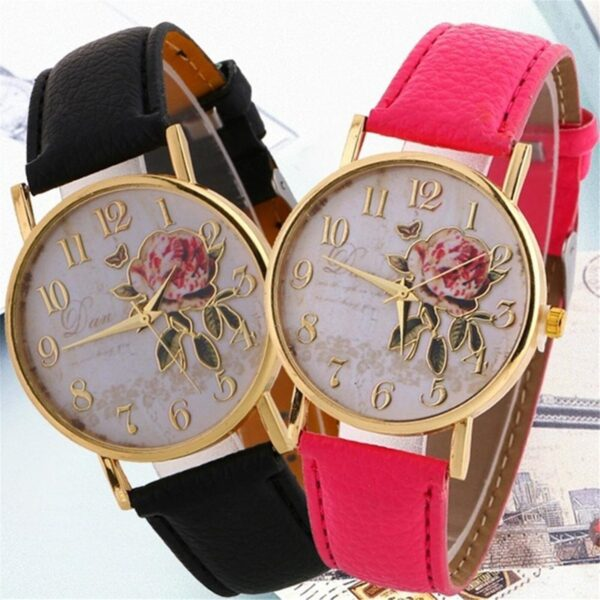 Rose Design Watch Fashion Watch Suit Men And Women For Gift Minimalist Fashion Ultra Thin Simple Watches Luxury Top Fashion Fashion Life & Accessories Iwatch & Accessories