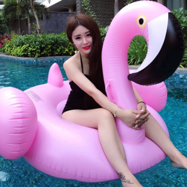 Rose Gold Inflatable Flamingo Pool Float Ride-on Swimming Float Swimming Ring Flamingo Boia Piscina Pool Party Toys Swimming