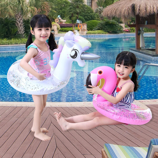 Sequins Float Swimming Circle Unicorn Flamingo Inflatable Pool Float Swimming Ring Baby Water Seat Summer Beach Party Toys Swimming
