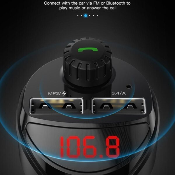 Siparnuo Car Charger FM Transmitter Bluetooth Car Audio MP3 Player TF Card Car Kit 3.4A Dual USB Car Phone Charger For Mi Car accessories