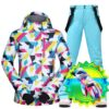 Ski Suit Women Warm Waterproof Winter Snow Snowboard Jackets and Pants Winter Clothes Comes With Touch Screen Ski Gloves Brands Ski Shop