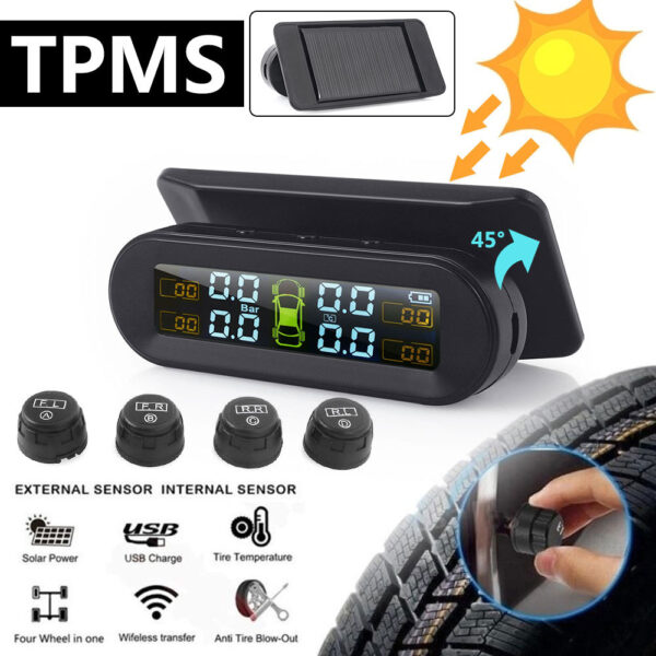 Solar TPMS Temperature Warning Fuel Save With 4External Sensors Car Tyre Pressure Monitor Tire Pressure Monitoring System tmps Car accessories