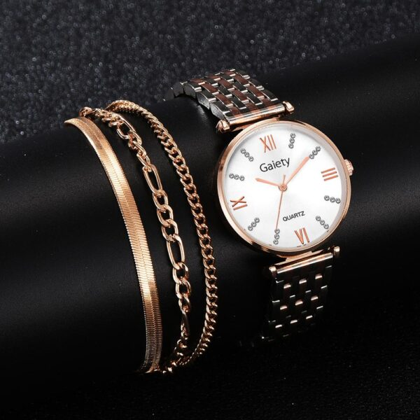 Stainless Steel Silver Bracelet Watches Set Female High Quality Quartz Watch Luxury Women Watch Bangle Set For Valentine's Gift Fashion Life & Accessories Iwatch & Accessories