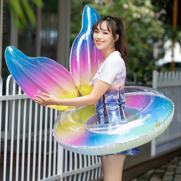 Summer Adult Crown Swimming Ring Gradient Volor Rainbow Sequins Thickened Armpit Water Lifebuoy Swimming Circle inflatable pool Swimming