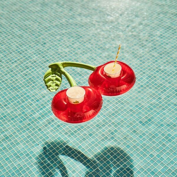Summer Cherry Drink Cup Holder Swimming Pool Mini Inflatable Floating Drink Holder Swimming Pool Toys For Party Accessories Swimming