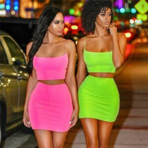 Summer Women Set Sexy 2 Piece Outfits Women Bodycon Mini Dress Crop Top and Skirt Set Bandage Dresses Party Clothes Set Kitchen