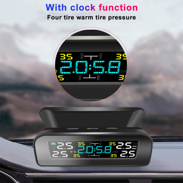 TPMS Solar Power TPMS Car Tire Pressure Alarm 360 Adjustable Monitor Auto Security System Tyre Pressure Temperature Warning new Car accessories