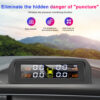 TPMS Solar Power TPMS Car Tire Pressure Alarm Monitor Auto Security System Tyre Pressure Temperature Warning Intelligent On Car accessories