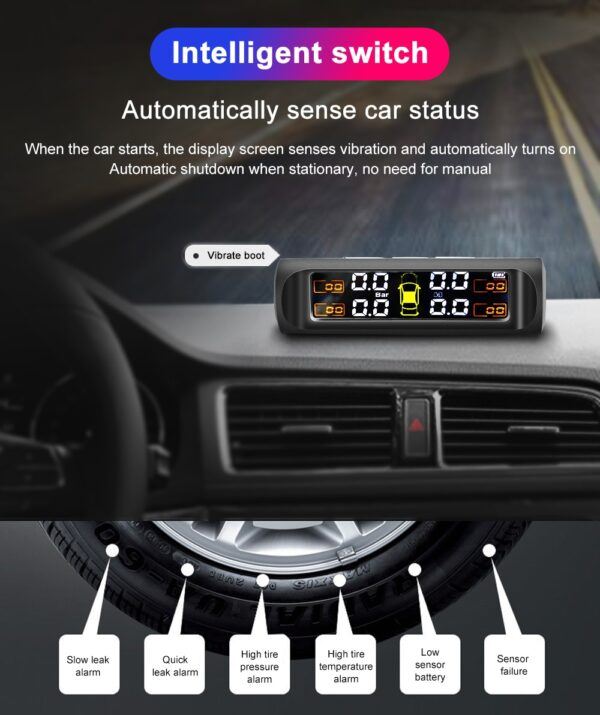 TPMS Solar Power TPMS Car Tire Pressure Alarm Monitor Auto Security System Tyre Pressure Temperature Warning Fashion Life & Accessories Iwatch & Accessories