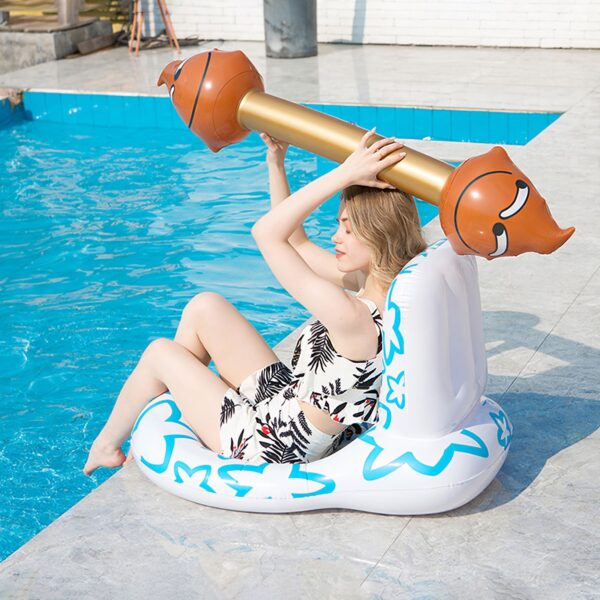 Toilet Floating Mat Funny Inflatable Floating Row Backrest Air Mattresses Beach Swimming Pool Water Sports Lounger Chair Mat Swimming