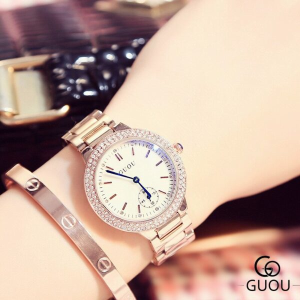 Top Brand Luxury Rose Gold Women Watches Fashion Rhinestone Stainless Steel Bracelet Ladies Watch Simple Casual Female Clock New Fashion Life & Accessories Iwatch & Accessories