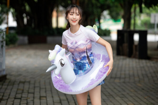 Transparent Feather Thicken Inflatable PVC Unicorn Flamingo Swimming Ring Tube Pool Float Air Mattress Beach Water Fun Toy Adult Swimming