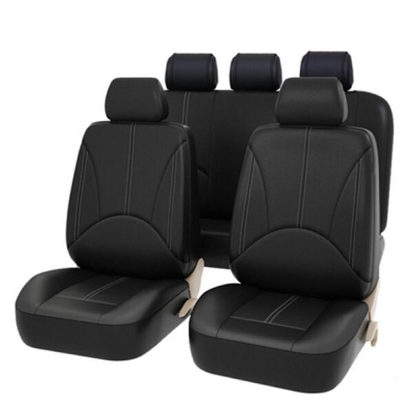 Universal Full Black Artificial PU Leather Car Seat Covers For Interior Front Seat Back Cushion Pad Cushion Auto Accessories Car accessories