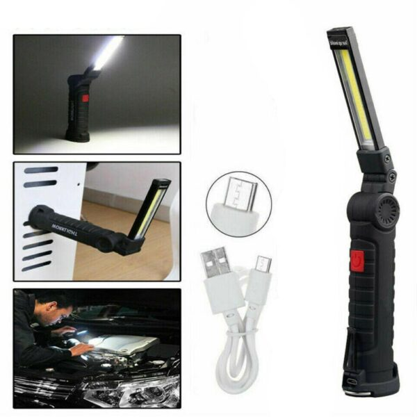 Usb Rechargeable Ip65 Waterproof with Built-in Battery Led Function Multi Cob Flashlight Torch Camping Set Folding Light Wo V0G7 Car accessories