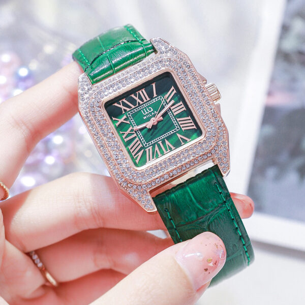 WIILAA Womens Watches Top Brand Fashion casual Luxury Dress Genuine Green Leather Waterproof Wristwatch for Lady 2021 relogio Fashion Life & Accessories Iwatch & Accessories