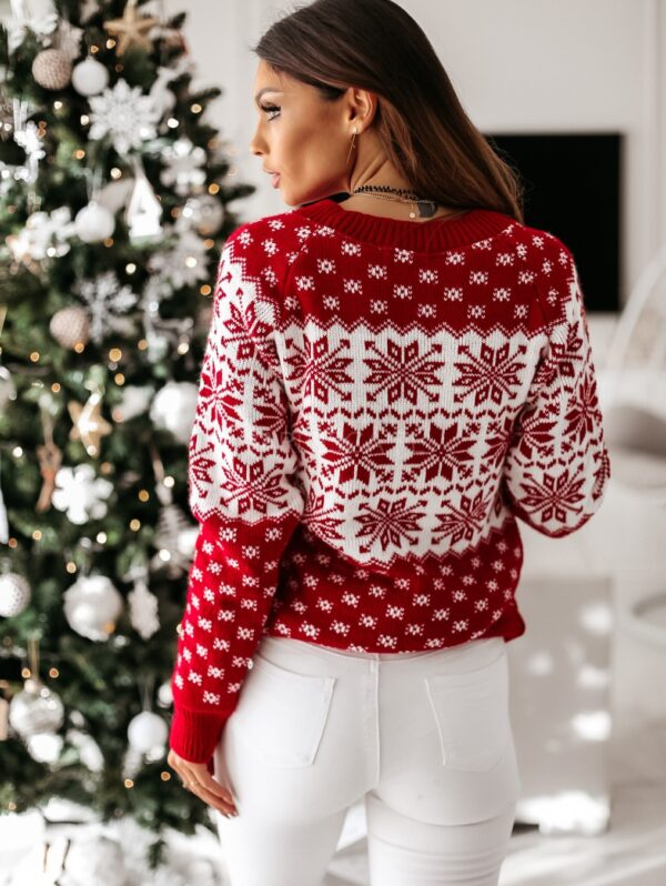 Women Autumn Winter Christmas Sweater Ladies Knitted Jumper Pullover Women Sweater Snowflake Elk Print Sweaters And Pullovers Kitchen