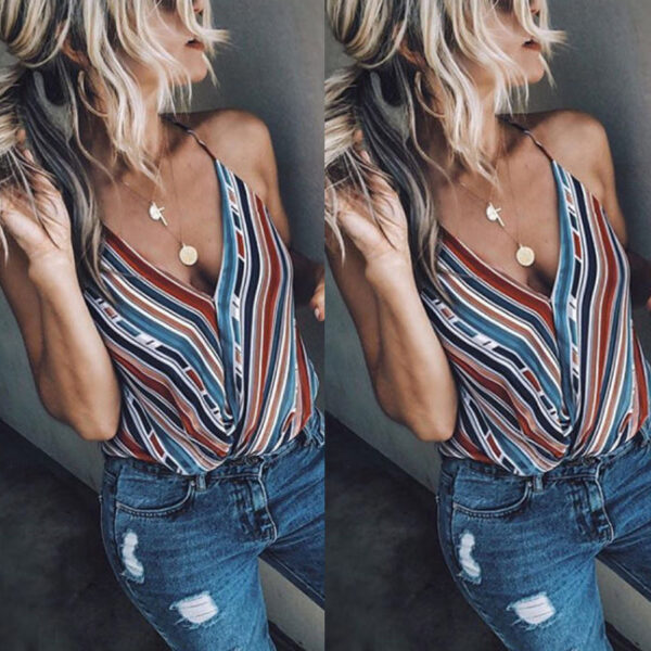 Women Summer Clothes Vest Top Sleeveless Casual Loose Striped Tank Tops V-Neck Regular Size Pullover Polyester Camis Hot Sales Kitchen