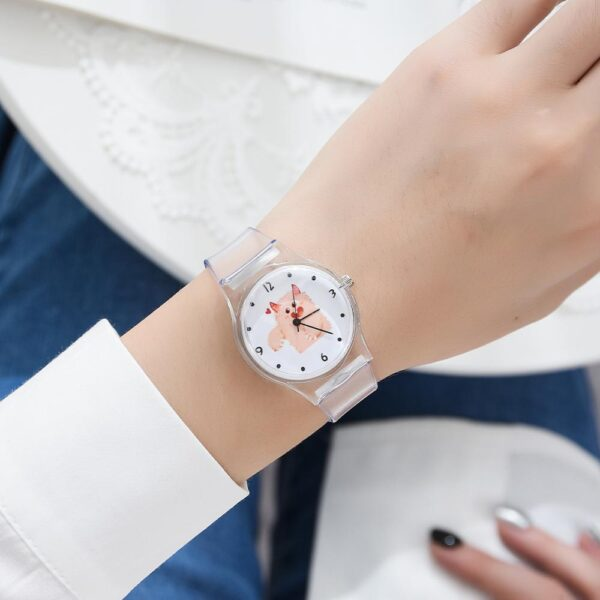 Women Watches Silicone Cartoon Style Transparent Strap Women Watch Korean Style Round Dial Casual Watch Fashion Life & Accessories Iwatch & Accessories