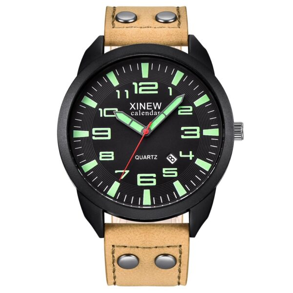 Xinew Men Watch Leather Strap Band Date Quartz Wrist Watch Round Dial Gifts For Men Roman Men's Watches Outdoor New Clock Fashion Life & Accessories Iwatch & Accessories