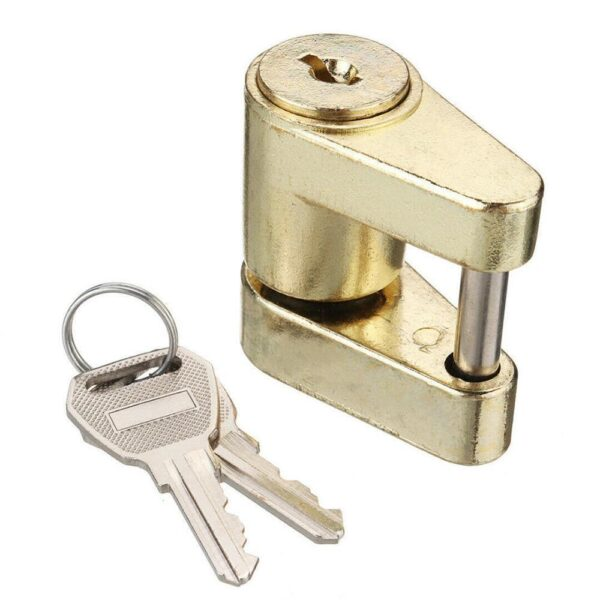 Zinc Alloy Trailer Hitch Coupler Lock For Locking Hauling Security Towing Tow Bar 2 Keys Rust-resistance Anti-theft Hard-wearing Car accessories