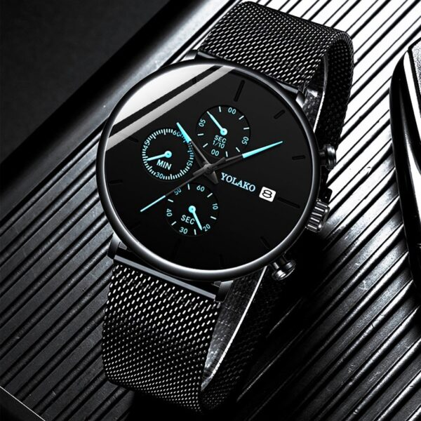 reloj hombre Mens Fashion Watches Stainless Steel Mesh Belt Calendar Quartz Watch for Man Business Casual Clock montre homme Fashion Life & Accessories Iwatch & Accessories